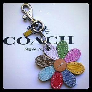 Coach Patchwork Daisy Flower Key Fob Purse Charm
